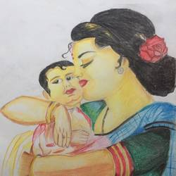 mom's love, 11 x 15 inch, ishwar manohar borse borse,11x15inch,paper,drawings,conceptual drawings,pencil color,GAL02935641546