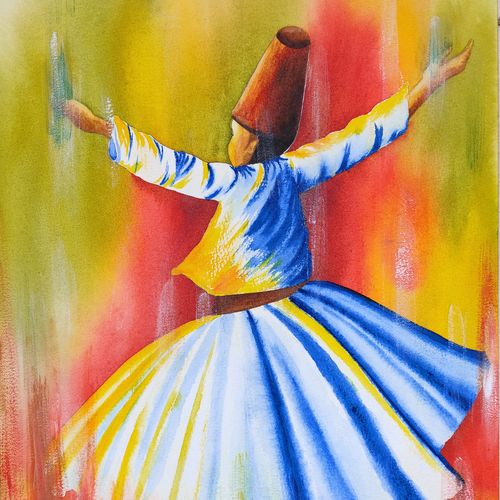 whirling devrish, 10 x 15 inch, divya bhagat,10x15inch,canson paper,paintings,abstract paintings,figurative paintings,modern art paintings,religious paintings,islamic calligraphy paintings,paintings for dining room,paintings for living room,paintings for bedroom,paintings for office,paintings for kids room,paintings for hotel,watercolor,GAL0610341548