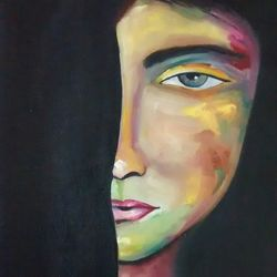 the hesitant girl, 12 x 15 inch, smriti sharma,figurative paintings,paintings for living room,canvas,oil,12x15inch,GAL013784155