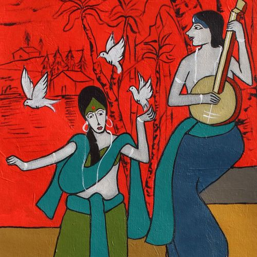 duo , 10 x 26 inch, chetan katigar,10x26inch,canvas,paintings,abstract paintings,buddha paintings,wildlife paintings,figurative paintings,flower paintings,foil paintings,cityscape paintings,landscape paintings,modern art paintings,multi piece paintings,conceptual paintings,religious paintings,still life paintings,portrait paintings,nature paintings | scenery paintings,abstract expressionism paintings,art deco paintings,dada paintings,expressionism paintings,impressionist paintings,portraiture,realism paintings,surrealism paintings,ganesha paintings | lord ganesh paintings,animal paintings,radha krishna paintings,contemporary paintings,realistic paintings,love paintings,horse paintings,dog painting,baby paintings,islamic calligraphy paintings,warli paintings,lord shiva paintings,phad painting,kerala murals painting,serigraph paintings,paintings for dining room,paintings for living room,paintings for bedroom,paintings for office,paintings for bathroom,paintings for kids room,paintings for kitchen,paintings for school,paintings for hospital,acrylic color,GAL026641551