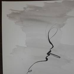 minimalistic abstract painting of a woman smoking , 5 x 8 inch, talat rais,5x8inch,thick paper,paintings,modern art paintings,abstract expressionism paintings,minimalist paintings,watercolor,paper,GAL02937341554