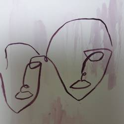 minimalistic painting of drama and masks, 5 x 8 inch, talat rais,5x8inch,thick paper,paintings,abstract paintings,art deco paintings,minimalist paintings,watercolor,paper,GAL02937341556