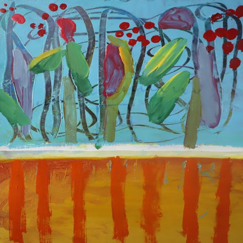 tulip and cucumber, 12 x 16 inch, nakul chauhan,12x16inch,ivory sheet,paintings,abstract paintings,wildlife paintings,flower paintings,landscape paintings,modern art paintings,nature paintings | scenery paintings,abstract expressionism paintings,expressionism paintings,impressionist paintings,contemporary paintings,paintings for dining room,paintings for living room,paintings for bedroom,paintings for office,paintings for bathroom,paintings for kids room,paintings for hotel,paintings for kitchen,paintings for school,acrylic color,GAL02931241558