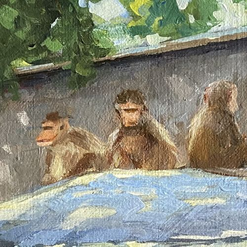 the monkeys on the blue roof., 9 x 12 inch, vinita sadarangani,9x12inch,canvas,paintings,abstract paintings,wildlife paintings,landscape paintings,nature paintings | scenery paintings,animal paintings,love paintings,children paintings,kids paintings,paintings for dining room,paintings for living room,paintings for bedroom,paintings for office,paintings for kids room,acrylic color,GAL02885141579