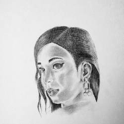 lady looking over her shoulder, 6 x 8 inch, prashant bahuguna,6x8inch,thick paper,drawings,paintings for living room,paintings for bedroom,fine art drawings,paintings for living room,paintings for bedroom,graphite pencil,paper,GAL02585941583