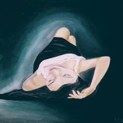 supine pose of a woman, 14 x 18 inch, prashant bahuguna,14x18inch,canvas,paintings,figurative paintings,paintings for living room,paintings for bedroom,paintings for living room,paintings for bedroom,oil color,GAL02585941584