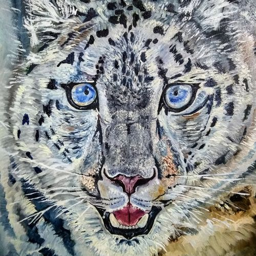snow leopard prowl, 17 x 21 inch, prashant bahuguna,17x21inch,canvas,paintings,figurative paintings,paintings for living room,paintings for bedroom,paintings for school,oil color,GAL02585941585