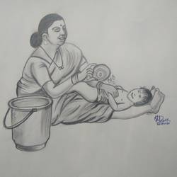 mom giving bath to the baby, 11 x 15 inch, ishwar manohar borse borse,11x15inch,paper,drawings,conceptual drawings,graphite pencil,GAL02935641587