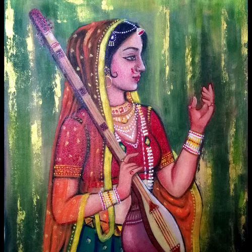 rajasthani painting, 18 x 24 inch, seema dasan,18x24inch,canvas,figurative paintings,paintings for dining room,paintings for living room,paintings for office,paintings for dining room,paintings for living room,paintings for office,acrylic color,oil color,GAL014141589
