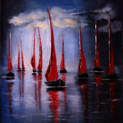 red boats , 18 x 24 inch, seema dasan,18x24inch,canvas,landscape paintings,nature paintings | scenery paintings,art deco paintings,paintings for dining room,paintings for living room,paintings for office,paintings for hotel,paintings for kitchen,paintings for dining room,paintings for living room,paintings for office,paintings for hotel,paintings for kitchen,oil color,GAL014141590