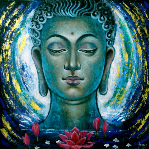 buddha painting , 18 x 18 inch, seema dasan,18x18inch,canvas,paintings,abstract paintings,buddha paintings,figurative paintings,paintings for dining room,paintings for living room,paintings for office,paintings for hotel,paintings for kitchen,paintings for dining room,paintings for living room,paintings for office,paintings for hotel,paintings for kitchen,acrylic color,oil color,GAL014141592
