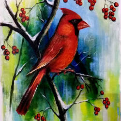 red cardinal bird, 12 x 15 inch, seema dasan,12x15inch,canvas,paintings,abstract paintings,wildlife paintings,animal paintings,paintings for dining room,paintings for living room,paintings for office,paintings for hotel,paintings for kitchen,paintings for school,acrylic color,GAL014141593