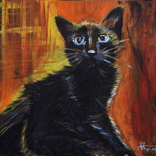 good luck black cat, 12 x 12 inch, nayana b.c,12x12inch,canvas,paintings,wildlife paintings,art deco paintings,photorealism,animal paintings,paintings for dining room,paintings for living room,paintings for office,paintings for hotel,paintings for school,acrylic color,GAL02908241595