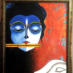 lord krishna, 18 x 24 inch, surinder pal singh,18x24inch,canvas,paintings,portrait paintings,paintings for bedroom,paintings for office,paintings for kids room,paintings for hotel,paintings for kitchen,paintings for school,paintings for hospital,acrylic color,GAL02932341596