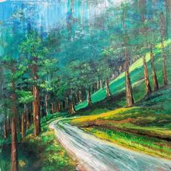 the hils are alive, 21 x 30 inch, sushmita banerjee,21x30inch,canvas,paintings,landscape paintings,acrylic color,GAL02461941598