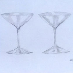 wine glasses, 9 x 11 inch, mrs. kalyani lahon,fine art drawings,paintings for dining room,paper,pencil color,9x11inch,GAL06574160