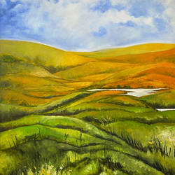yellow mountains, 30 x 33 inch, karuna mohindra,30x33inch,canvas,paintings,nature paintings | scenery paintings,oil color,GAL02932941604