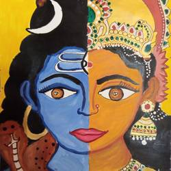 arthanariswarar, 8 x 12 inch, charuhasini b,8x12inch,thick paper,paintings,religious paintings,paintings for living room,acrylic color,GAL02937641609