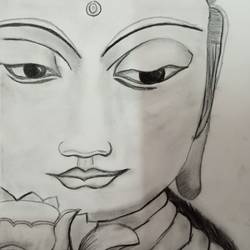 peace ful, 8 x 12 inch, charuhasini b,8x12inch,thick paper,drawings,buddha drawings,paintings for living room,pencil color,GAL02937641611