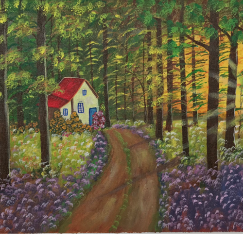 morning glory, 22 x 12 inch, akanksha p,22x12inch,canvas,paintings,flower paintings,landscape paintings,paintings for dining room,paintings for living room,paintings for bedroom,paintings for office,paintings for bathroom,paintings for kids room,paintings for hotel,paintings for kitchen,paintings for school,paintings for hospital,acrylic color,GAL02908341621