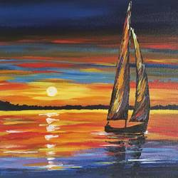 let's sail, 12 x 12 inch, nidhi agarwal,12x12inch,canvas,paintings,abstract paintings,nature paintings | scenery paintings,paintings for living room,paintings for bedroom,paintings for office,paintings for bathroom,paintings for hotel,acrylic color,GAL02941841624