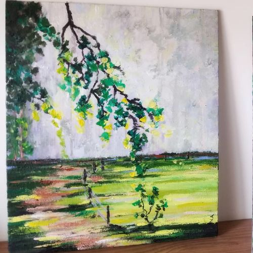a touch of green .., 10 x 12 inch, nidhi agarwal,10x12inch,canvas,paintings,abstract paintings,landscape paintings,nature paintings | scenery paintings,paintings for dining room,paintings for living room,paintings for office,paintings for bathroom,paintings for hotel,acrylic color,GAL02941841627