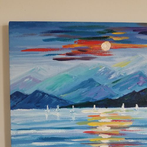 sunset & snow, 12 x 12 inch, nidhi agarwal,12x12inch,canvas,paintings,abstract paintings,nature paintings | scenery paintings,paintings for dining room,paintings for living room,paintings for bedroom,paintings for office,paintings for hotel,acrylic color,GAL02941841628