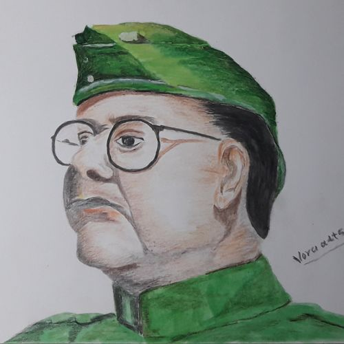 subhas chandra bose , 15 x 11 inch, niranjan vora,15x11inch,drawing paper,drawings,figurative paintings,paintings for office,paintings for kids room,paintings for hotel,paintings for school,fine art drawings,paintings for office,paintings for kids room,paintings for hotel,paintings for school,pastel color,pencil color,poster color,watercolor,paper,GAL02890441631