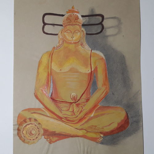 lord hanuman, 8 x 11 inch, niranjan vora,8x11inch,drawing paper,paintings,religious paintings,realistic paintings,paintings for living room,paintings for office,paintings for kids room,pastel color,pencil color,poster color,watercolor,paper,GAL02890441632
