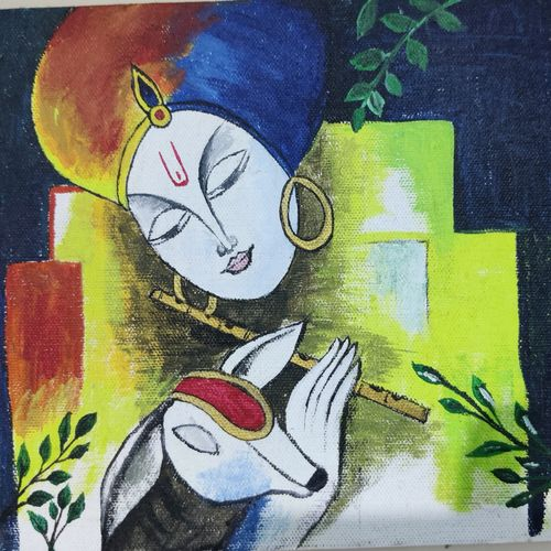 lord krishna, 12 x 10 inch, jisha baby,12x10inch,canvas,paintings,religious paintings,paintings for dining room,paintings for living room,paintings for office,paintings for hotel,paintings for dining room,paintings for living room,paintings for office,paintings for hotel,acrylic color,GAL02942241634