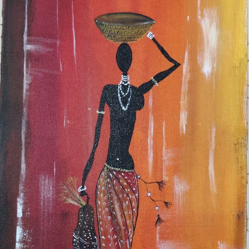 tribal african woman, 12 x 22 inch, jisha baby,12x22inch,canvas,paintings,figurative paintings,modern art paintings,paintings for dining room,paintings for living room,paintings for bedroom,paintings for office,paintings for hotel,paintings for kitchen,paintings for school,paintings for hospital,acrylic color,GAL02942241635