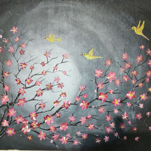 moonlight night cherry blossom, 22 x 18 inch, jisha baby,22x18inch,canvas,paintings,flower paintings,paintings for dining room,paintings for living room,paintings for bedroom,paintings for office,paintings for hotel,paintings for kitchen,paintings for school,paintings for hospital,acrylic color,GAL02942241636