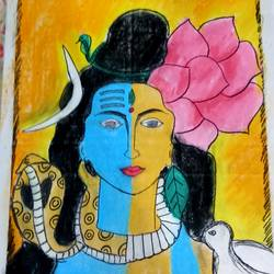 lord shiva parvati painting, 14 x 10 inch, vishal singh,14x10inch,drawing paper,paintings,lord shiva paintings,pastel color,GAL02764341639