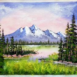 mountain lake forest landscape scenery , 12 x 10 inch, sai amale ,12x10inch,canvas,paintings,landscape paintings,nature paintings | scenery paintings,paintings for dining room,paintings for living room,paintings for bedroom,paintings for office,paintings for hotel,paintings for kitchen,acrylic color,GAL02904141646