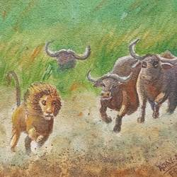 the counter attack , 16 x 11 inch, ajay anand,16x11inch,handmade paper,paintings,wildlife paintings,landscape paintings,nature paintings | scenery paintings,paintings for dining room,paintings for living room,paintings for bedroom,paintings for office,paintings for kids room,paintings for hotel,paintings for school,watercolor,GAL01783941648