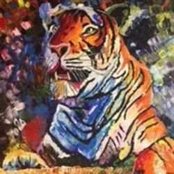 the tiger, 24 x 30 inch, ishu  mittal,realistic paintings,paintings for office,animal paintings,canvas board,acrylic color,24x30inch,GAL014804165