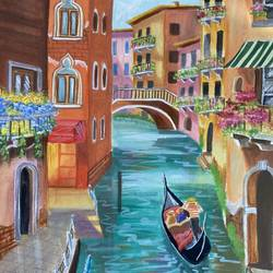venice canal, 8 x 11 inch, zannat  parveen,8x11inch,thick paper,paintings,cityscape paintings,landscape paintings,modern art paintings,photorealism,paintings for dining room,paintings for living room,paintings for bedroom,paintings for hotel,mixed media,GAL02943841651