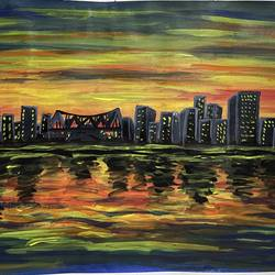 sunset skyline, 16 x 11 inch, zannat  parveen,16x11inch,thick paper,paintings,cityscape paintings,landscape paintings,modern art paintings,paintings for living room,paintings for bedroom,paintings for office,paintings for hotel,acrylic color,GAL02943841653
