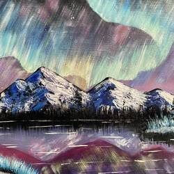 aurora borealis, 16 x 11 inch, zannat  parveen,16x11inch,drawing paper,paintings,landscape paintings,nature paintings | scenery paintings,paintings for dining room,paintings for living room,paintings for bedroom,paintings for office,paintings for hotel,paintings for kitchen,acrylic color,GAL02943841655