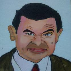 mr. bean , 8 x 10 inch, ishwar manohar borse borse,8x10inch,canvas,paintings,portrait paintings,acrylic color,GAL02935641665