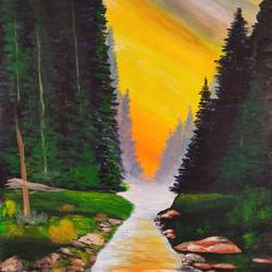 nature landscape painting, 24 x 36 inch, k shwetha bhat,24x36inch,canvas,landscape paintings,acrylic color,GAL01655841671