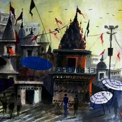 varanasi ghat 34, 10 x 7 inch, girish chandra vidyaratna,landscape paintings,paintings for bedroom,horizontal,paper,watercolor,10x7inch,GAL0364168
