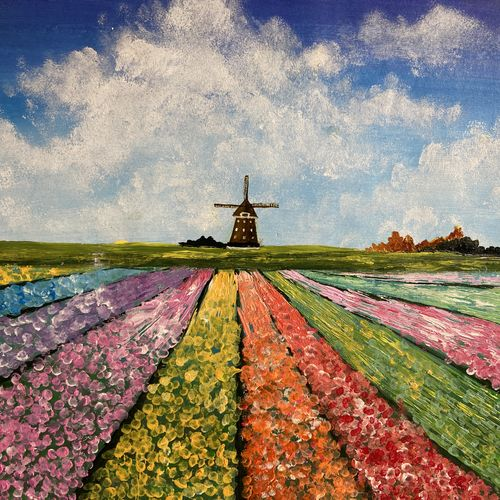 tulip field, 16 x 11 inch, zannat  parveen,16x11inch,thick paper,flower paintings,landscape paintings,nature paintings | scenery paintings,paintings for dining room,paintings for living room,paintings for bedroom,paintings for office,paintings for hotel,paintings for school,paintings for dining room,paintings for living room,paintings for bedroom,paintings for office,paintings for hotel,paintings for school,acrylic color,GAL02943841682