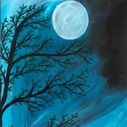 gazing at full moon, 8 x 12 inch, ruchi chandra verma,8x12inch,canvas,paintings,landscape paintings,nature paintings | scenery paintings,paintings for dining room,paintings for living room,paintings for bedroom,paintings for office,paintings for kids room,acrylic color,GAL02794541683
