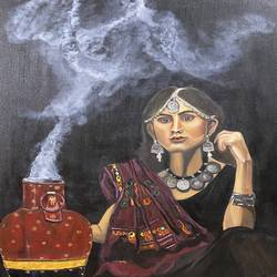 banjaran, 36 x 48 inch, puja jhunjhunwala,36x48inch,canvas,paintings,portrait paintings,expressionism paintings,photorealism paintings,realistic paintings,paintings for dining room,paintings for living room,paintings for bedroom,paintings for office,paintings for hotel,acrylic color,oil color,GAL02307741684