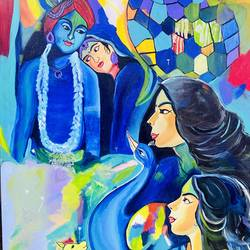 radhe krishna, 30 x 40 inch, puja jhunjhunwala,30x40inch,canvas,paintings,abstract paintings,figurative paintings,modern art paintings,religious paintings,pop art paintings,radha krishna paintings,acrylic color,GAL02307741685