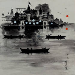 varanasi ghat - three boat, 10 x 10 inch, girish chandra vidyaratna,cityscape paintings,paintings for bedroom,vertical,paper,acrylic color,10x10inch,GAL0364169
