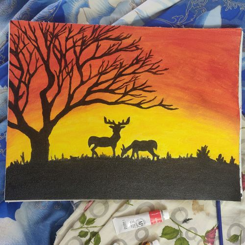 golden hour of the day, 8 x 12 inch, ritu sabharwal,8x12inch,canvas,paintings,nature paintings | scenery paintings,acrylic color,oil color,GAL02899541691