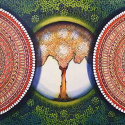 mandala- expansion beyond dimension, 40 x 30 inch, nitu chhajer,40x30inch,canvas,nature paintings | scenery paintings,acrylic color,GAL058241696