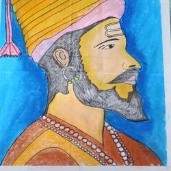 chatrapati shivaji maharaj painting, 14 x 10 inch, vishal singh,14x10inch,drawing paper,paintings,religious paintings,portrait paintings,expressionism paintings,impressionist paintings,photorealism paintings,realism paintings,pastel color,GAL02764341705